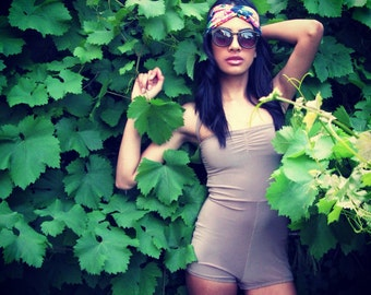 vintage style swimsuit maillot beige black green blue red