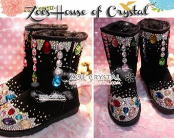 Promotion WINTER Bling and Sparkly SheepSkin Wool BOOTS w shinning Czech or Swarovski crystal in LOLITA Style