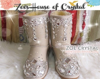 PROMOTION WINTER Beige Leather Sheepskin Fleech/Wool Boots with shinning and stylish CRYSTALS