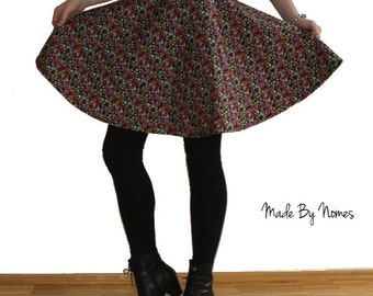 Vibrant Party Circle Skirt. Black green yellow pink purple. Adult size Small. 26 inch waist