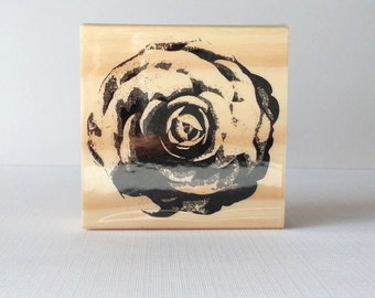 Large Rose Wooden Mounted Rubber Stamping Block DIY scrapbooking, tags, Invitations, and Greeting Cards