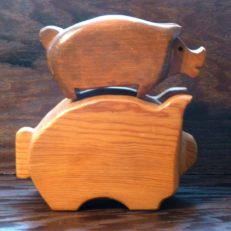 Vintage handmade wooden piggy banks for the collector for Handmade coin bank