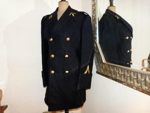 Vintage Police Costume French Gendarme Wool Mens Coat Rare