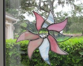 """Sunburst Suncatcher with a Center Crystal Faceted Gem - 8"""" x 8""""  Finished Size  - Wonderful Gift Idea for the Holidays"""
