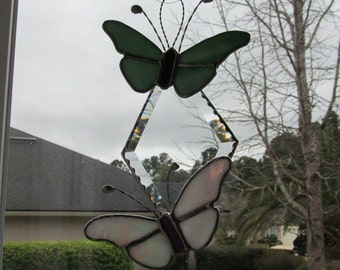 """Twin Butterflies on Clear Bevel Diamond - Finished size 9"""" x 6.5"""" - Unique Spring Gift"""