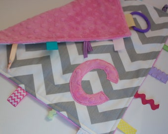 Personalized Pink Grey Chevron blanket - Baby tag Lovey Security Sensory Ribbon Stroller Travel Minky