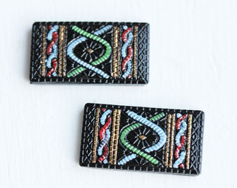 Painted Rectangle Cabochons, Black Cabochons, Large Cabochons, Enamel Cabochons, Painted Cabochons (2x)