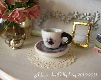 Paris Chic Tea Cup and Saucer for Dollhouse