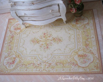L Yellow Floral Fringed Aubusson Dollhouse Rug