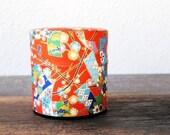 Vintage Red Japanese Stash Box, Round Bright Print Fabric Decor Trinket Storage, Made in Japan