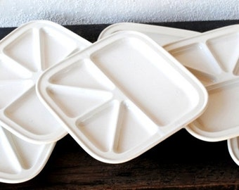 Mod Tray Plates Set, Vintage Japan Appetizer Sushi Divided Party Serving Trays, Six (6)