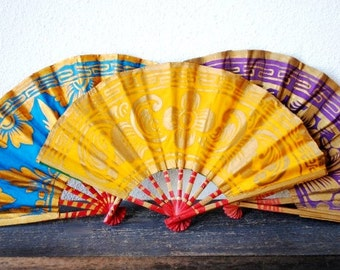 Vintage Pin Up Fans, Folding Ornate Gold Floral Hand Painted Exotic Decor Wall Hangings, ONE Color Choice