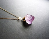 Gold Dipped Amethyst Necklace / Amethyst Necklace / Gold Necklace / Bridesmaid Gift / Raw Stone Necklace / Amethyst Jewelry