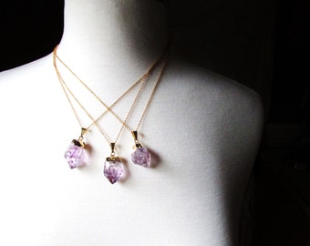 Gold Dipped Amethyst Necklace