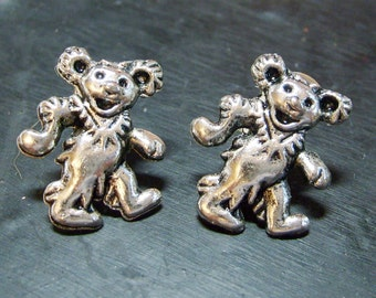 Dancing bear earring stud post earring ESO004 Soldered handcrafted by CollectionsbyTracy Grateful Dead jewelry hippie silver bear earring