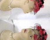 Vintage 1950s Pink and Black Fascinator Hat - Silk Velvet Tulle and Net w/ Flowers