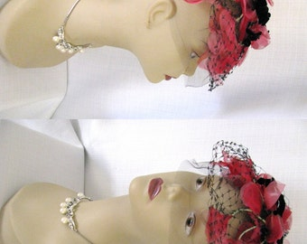 Vintage 1950s Pink and Black Fascinator Hat - Silk Velvet Tulle and Net w/ Flowers