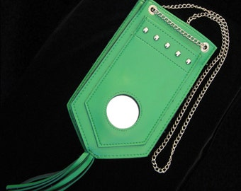Vintage Mod Purse - Apple Green Geometric Shaped Purse with Mirror and Fringed Bottom