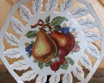 Vintage Handpainted Decorative Fruit Plate