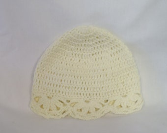 Crocheted 100% Cotton Beanie for 0-3 months