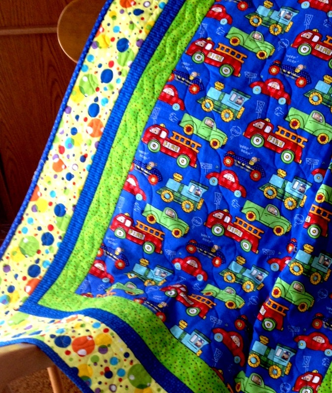 Baby quilt kids quilt cars and trucks little boy quilt for Little blue truck fabric