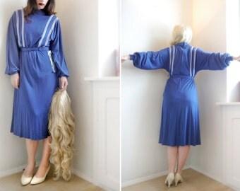 Vintage 70s Sporty DRESS / Blue White Stripes / Jersey midi dress /  Long sleeves /  M / Deadstock
