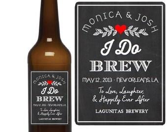 Custom Beer Labels - I Do Brew - Chalkboard Wedding Favors - Beer Bottle Labels