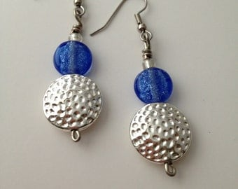 Blue & Silver Dangle Earrings