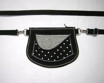 HIP BAG Small Belt Bag  little belt pocket Sling Purse small cross body tote mixed fabrics in Black-White