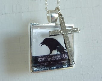 Upcycled Vintage Crow Pendant and Cross Necklace