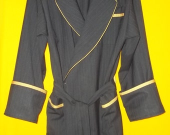 Hand Made Maxi Full Length Super 150 wool/rayon blend lounge robe.Custom Designed w/ pointed collar and accented with Cadmium Orange Pipping