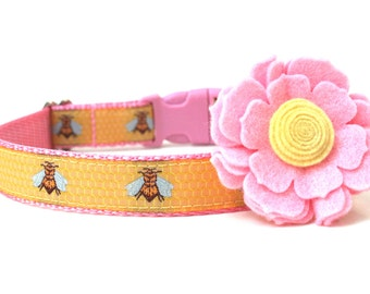 "Girl Dog Collar Pink and Yellow Bumble Bee Dog Collar 1"" or 3/4"""