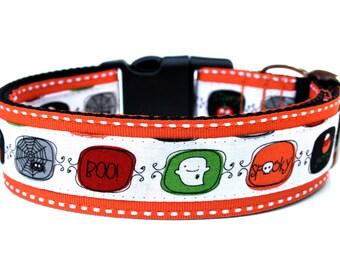 """Halloween Dog Collar 1.5"""" Large Fall Dog Collar"""