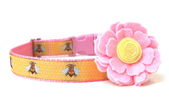 "Girl Dog Collar Pink and Yellow Bumble Bee Dog Collar 1"" or 3/4"""