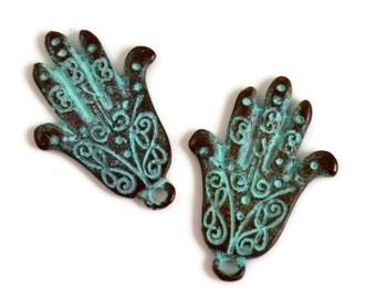 4 Mykonos Hamsa Hand - 25mm Green Patina - Lacey Hand Yoga Charm