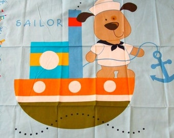 Little Sailor Bear, Sail boat, Sailor suit and Anchor in new designer cotton panel in blue, white, orange, black and brown with border