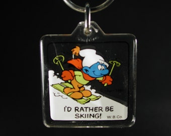 I'd Rather Be Sking Smurf Key Chain
