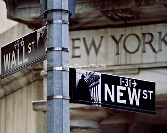 Wall Street Photography,New York City Art, NYC,Finance,Money,Street Sign,Stock Exchange,New York Print,Urban,City Life,Office Art,Dorm Decor