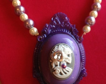 SALE Purple Skull Cameo Pearl Necklace