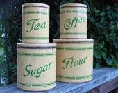 Vintage Canisters 1930s Kitchen Coffee Shop Restaurant Decor - Metal - Yellow - Green