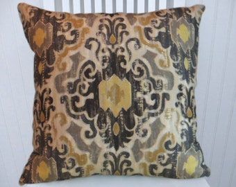 Designer Pillow, Ikat Pillow Cover- Grey, Yellow, Black 18x18 or 20x20 or 22x22 Accent Pillow-