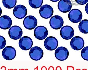 1000 PCS X 3mm SS12 Round Cobalt Dark Blue Rhinestone Bling 14 Faceted Cut Crystal Gems Resin Flat back Deco Den Nail Art Craft (GM.R3DL)