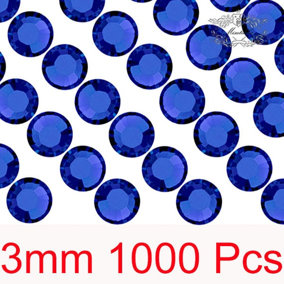 1000 PCS X 3mm SS12 Round Cobalt Dark Blue Rhinestone Bling 14 Faceted Cut Crystal Gems Resin Flat back Deco Den Nail Art Craft (GM.R3DL)