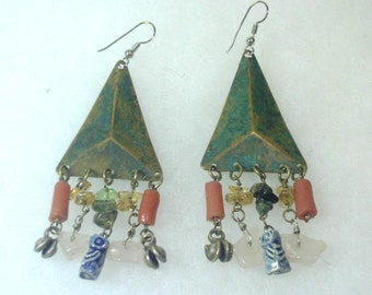 Vintage Tribal Triangle Metal and Natural Stone Earrings - 1980's