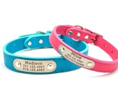 LUXE Leather Dog Collar with Personalized Nameplate - 8 Colors