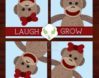 Prints: sock monkey messages, set of four - nursery, art, boy or girl