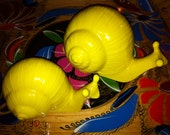 Last Chance Pair of Bright Sunny yellow Snails 1970's awesome mint 50% All ItEMs today coupon code hurry