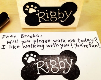 PERSONALIZED PET STAMP - Handlettered With Your Dog's Name - From the Dog - Customizable