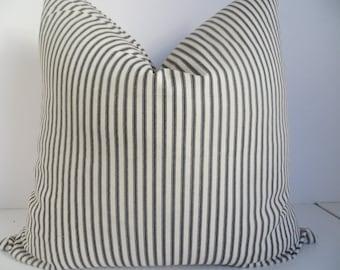 Striped Pillow - Decorative Pillow Covers - Striped Black Pillows - Home Decor- Pillow Cover - Black Pillow - Beige Pillow