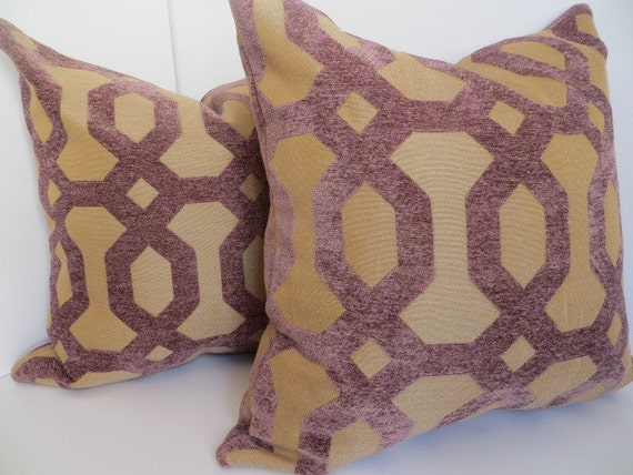 Pair Pillow Covers Purple Pillow Brown Pillow Lavender